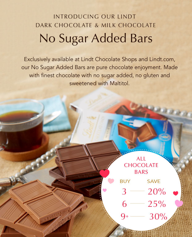 Introducing our LINDT no sugar added bars.