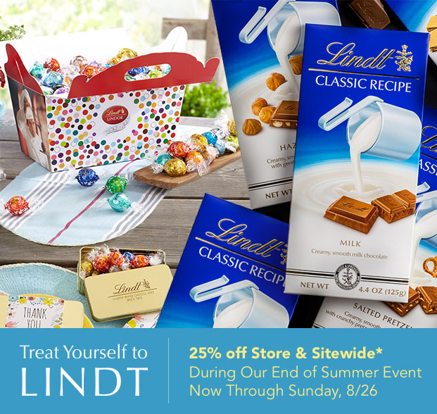 Treat Yourself to LINDT | 25% off Store & Sitewide*, Now through Monday, 9/3