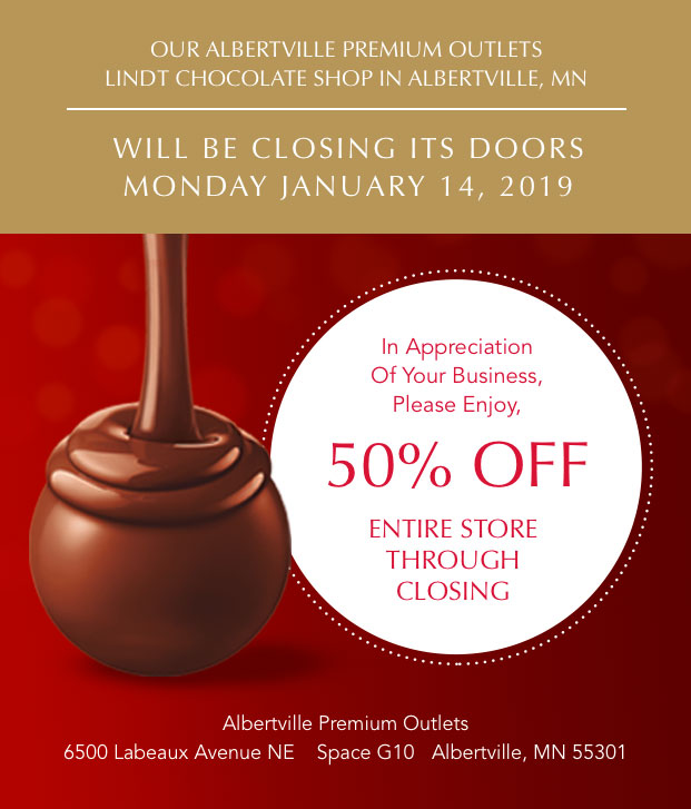 Albertville LINDT Shop will be closing on 1/14