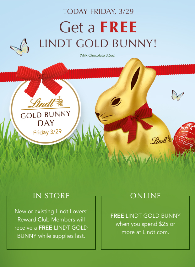 Get A Free LINDT GOLD BUNNY!